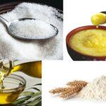 Ghee, oil, flour & sugar