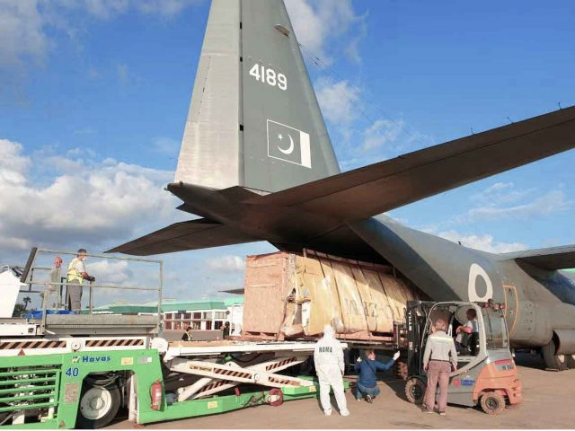 Pakistan C-130 Aircraft loading food and medicines for Afghanistan